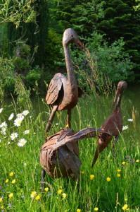 3 rustic recycled metal birds